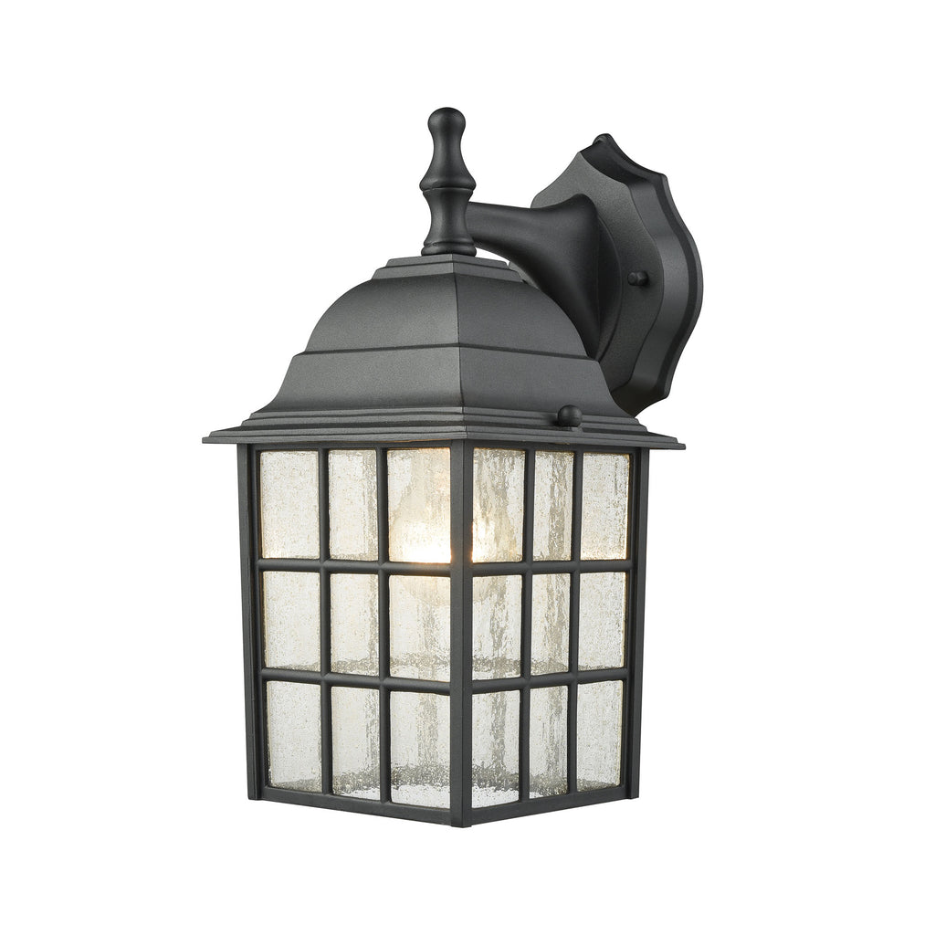 Holton 1 Light Outdoor Wall Sconce In Satin Black With Seedy Glass