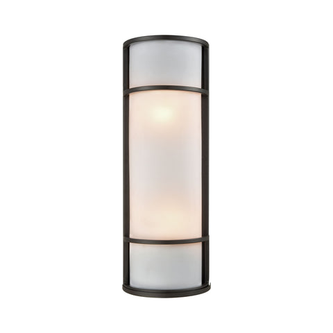 Bella Outdoor Wall Sconce In Oil Rubbed Bronze With A White Acrylic Diffuser