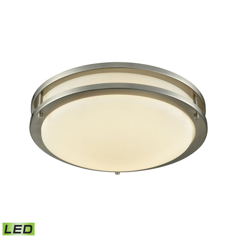 "Clarion 11"" LED Flush In Brushed Nickel With A White Acrylic Diffuser"