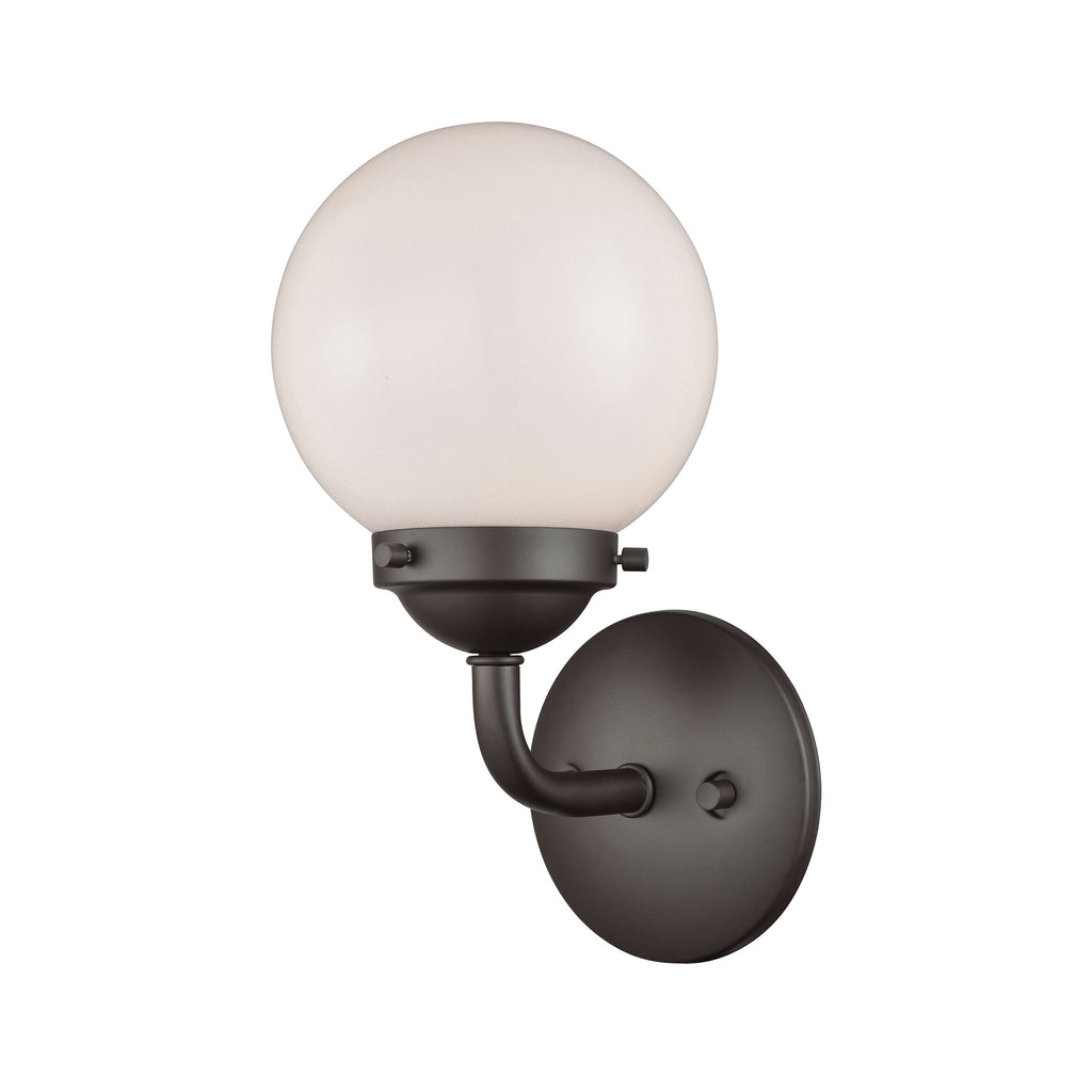 Beckett 1 Light Bath In Oil Rubbed Bronze And Opal White Glass