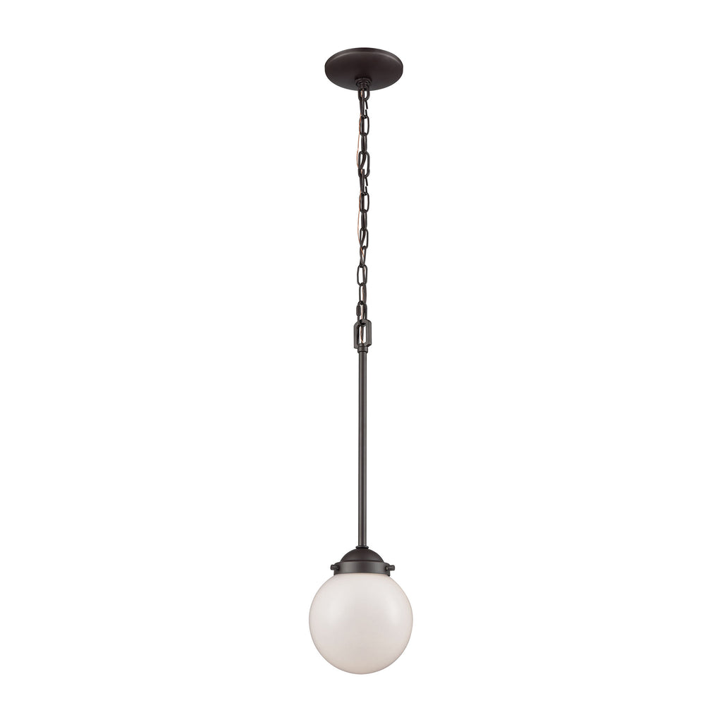 Beckett 1 Light Pendant In Oil Rubbed Bronze With Opal White Glass