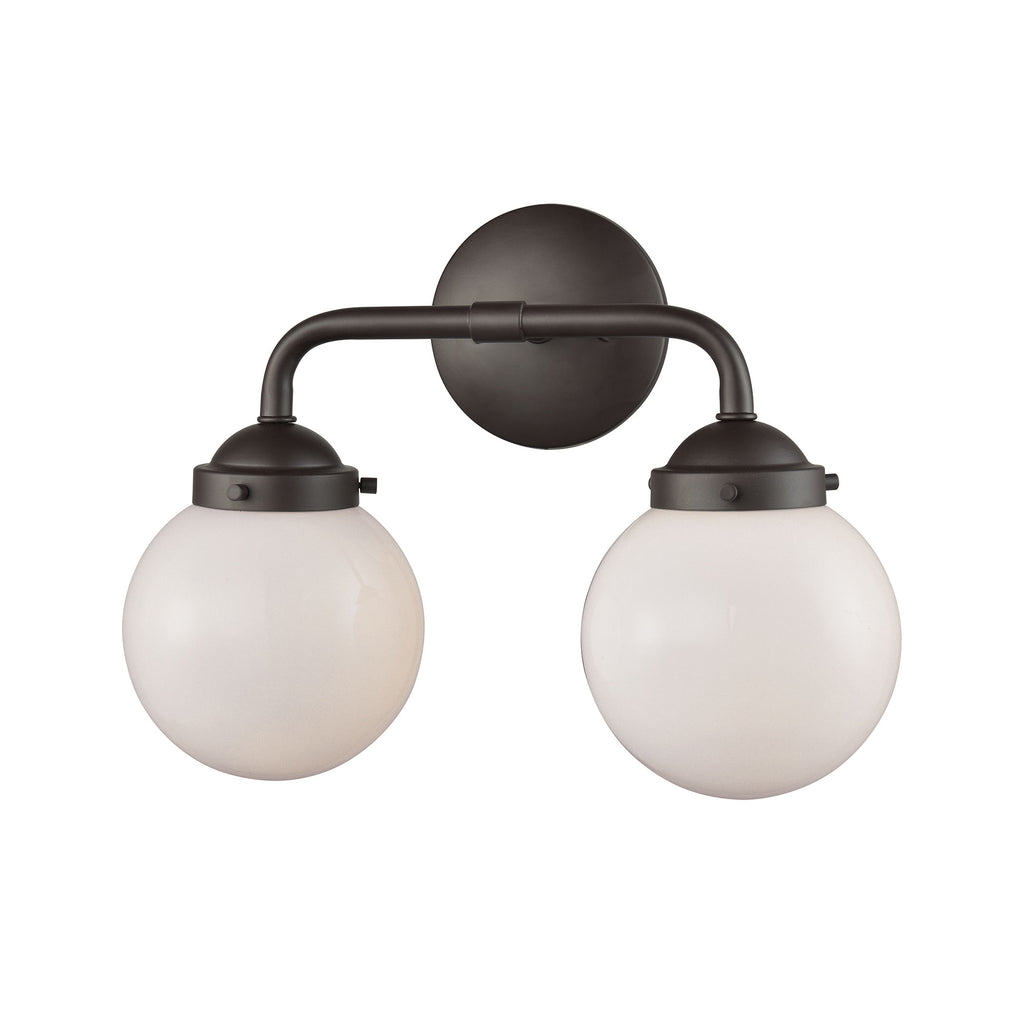 Beckett 2 Light Bath In Oil Rubbed Bronze And Opal White Glass