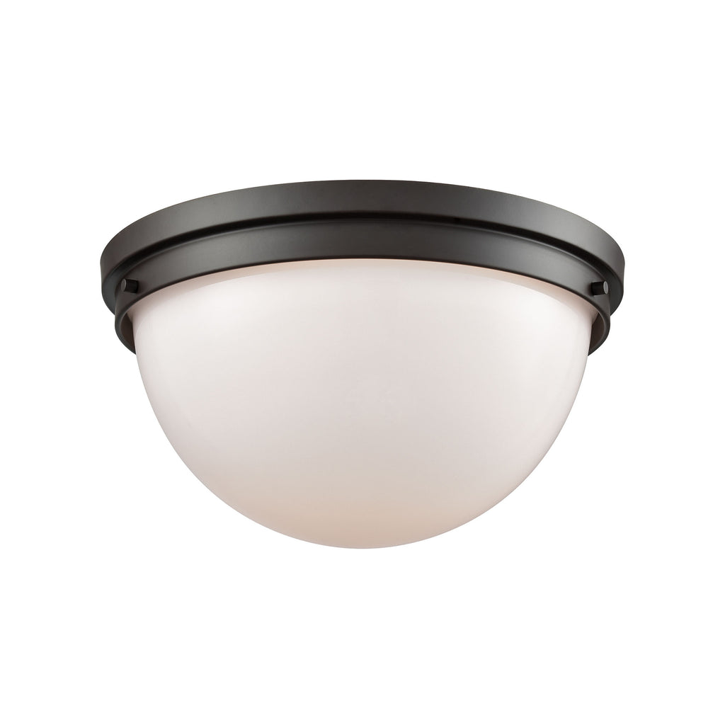 Beckett 2 Light Flush Mount In Oil Rubbed Bronze With Opal White Glass