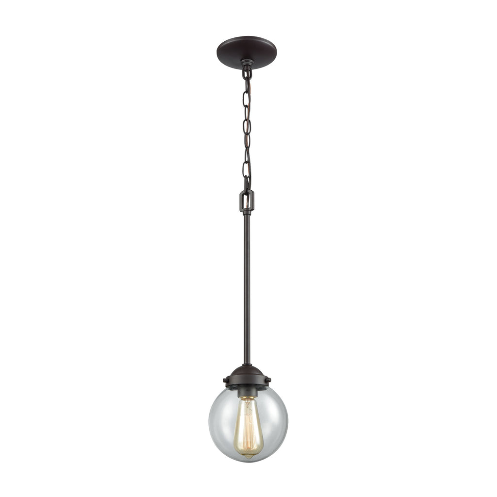 Beckett 1 Light Pendant In Oil Rubbed Bronze With Clear Glass
