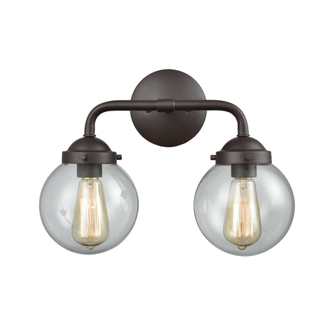Beckett 2 Light Bath In Oil Rubbed Bronze And Clear Glass