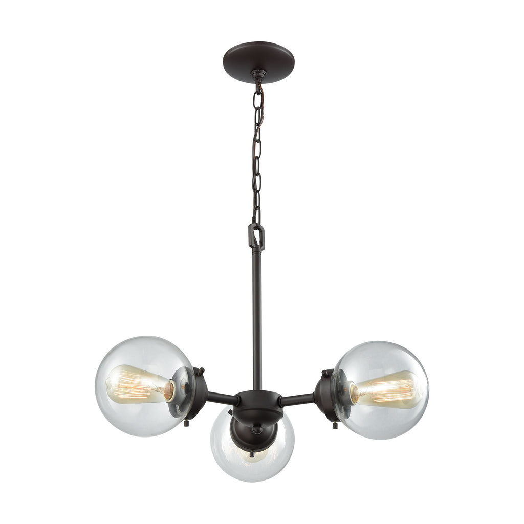 Beckett 3 Light Chandelier In Oil Rubbed Bronze With Clear Glass