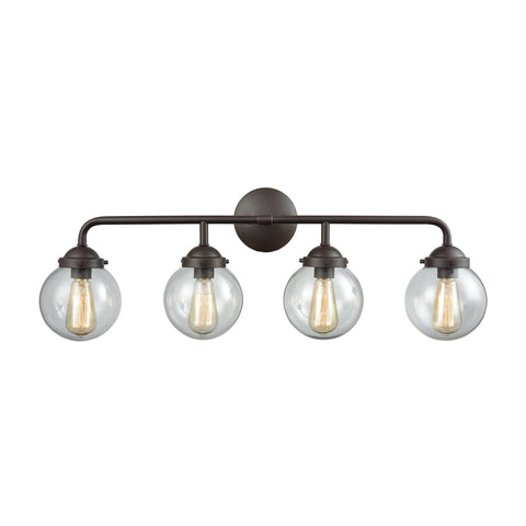 Beckett 4 Light Bath In Oil Rubbed Bronze And Clear Glass