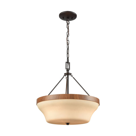 Park City 3 Light Pendant,Semi Flush Dual Mount In Oil Rubbed Bronze,Wood Grain And Light Beige Scavo Glass