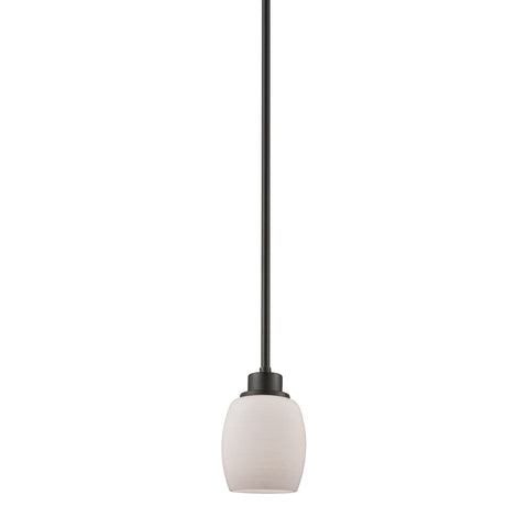 Casual Mission 1 Light Pendant In Oil Rubbed Bronze With White Lined Glass