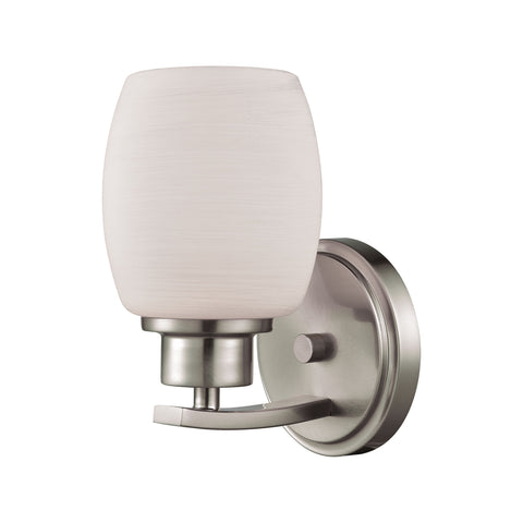 Casual Mission 1 Light Bath In Brushed Nickel With White Lined Glass