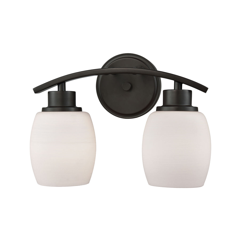 Casual Mission 2 Light Bath In Oil Rubbed Bronze With White Lined Glass