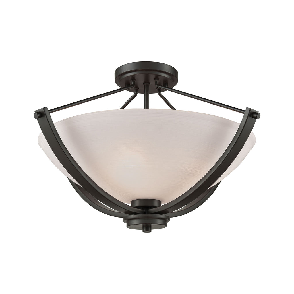 Casual Mission 3 Light Semi Flush In Oil Rubbed Bronze With White Lined Glass