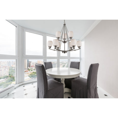 Casual Mission 9-Light Chandelier in in Brushed Nickel with White Lined Glass