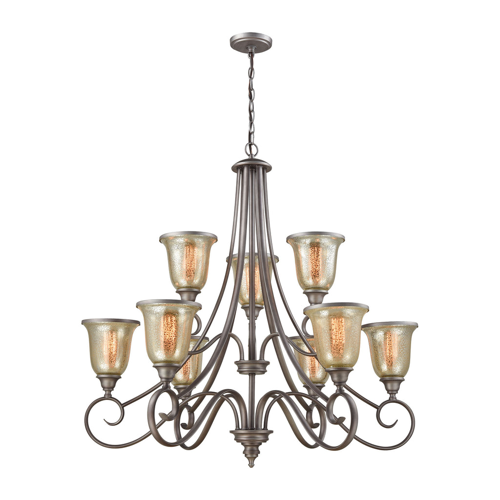 Georgetown 9 Light Chandelier In Weathered Zinc With Mercury Glass