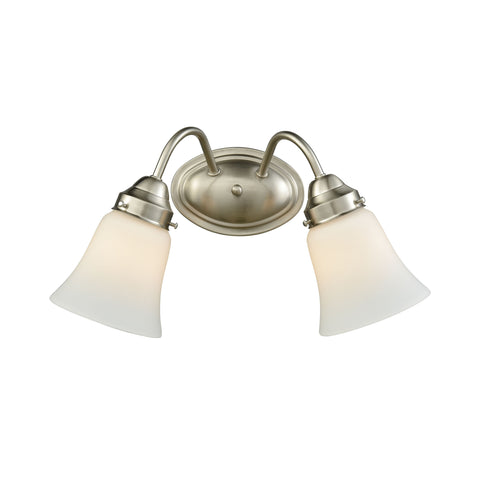 Califon 2 Light Bath In Brushed Nickel With White Glass