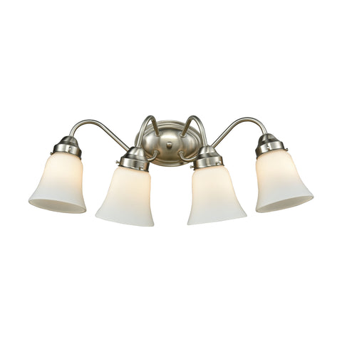 Califon 4 Light Bath In Brushed Nickel With White Glass