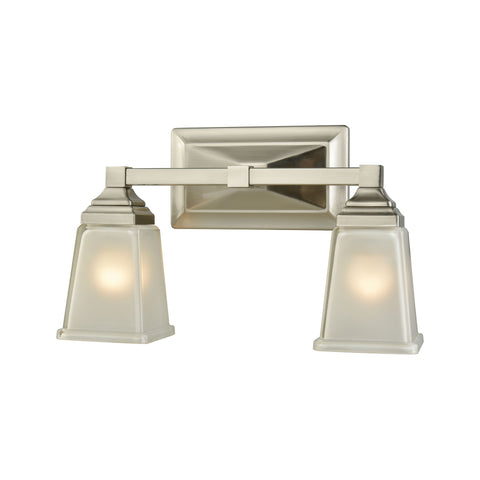 Sinclair 2 Light Bath In Brushed Nickel With Frosted Glass