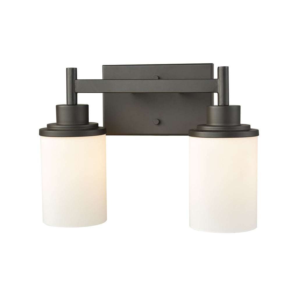 Belmar 2 Light Bath In Oil Rubbed Bronze With Opal White Glass