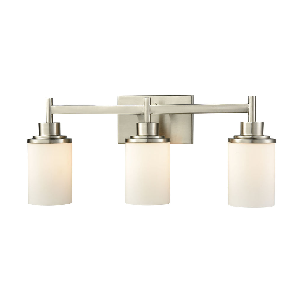 Belmar 3 Light Bath In Brushed Nickel With Opal White Glass