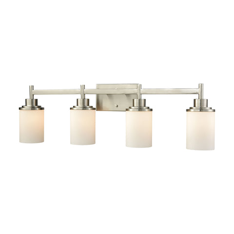 Belmar 4 Light Bath In Brushed Nickel With Opal White Glass