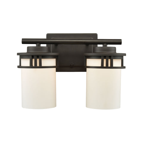 Ravendale 2 Light Bath In Oil Rubbed Bronze With Opal White Glass