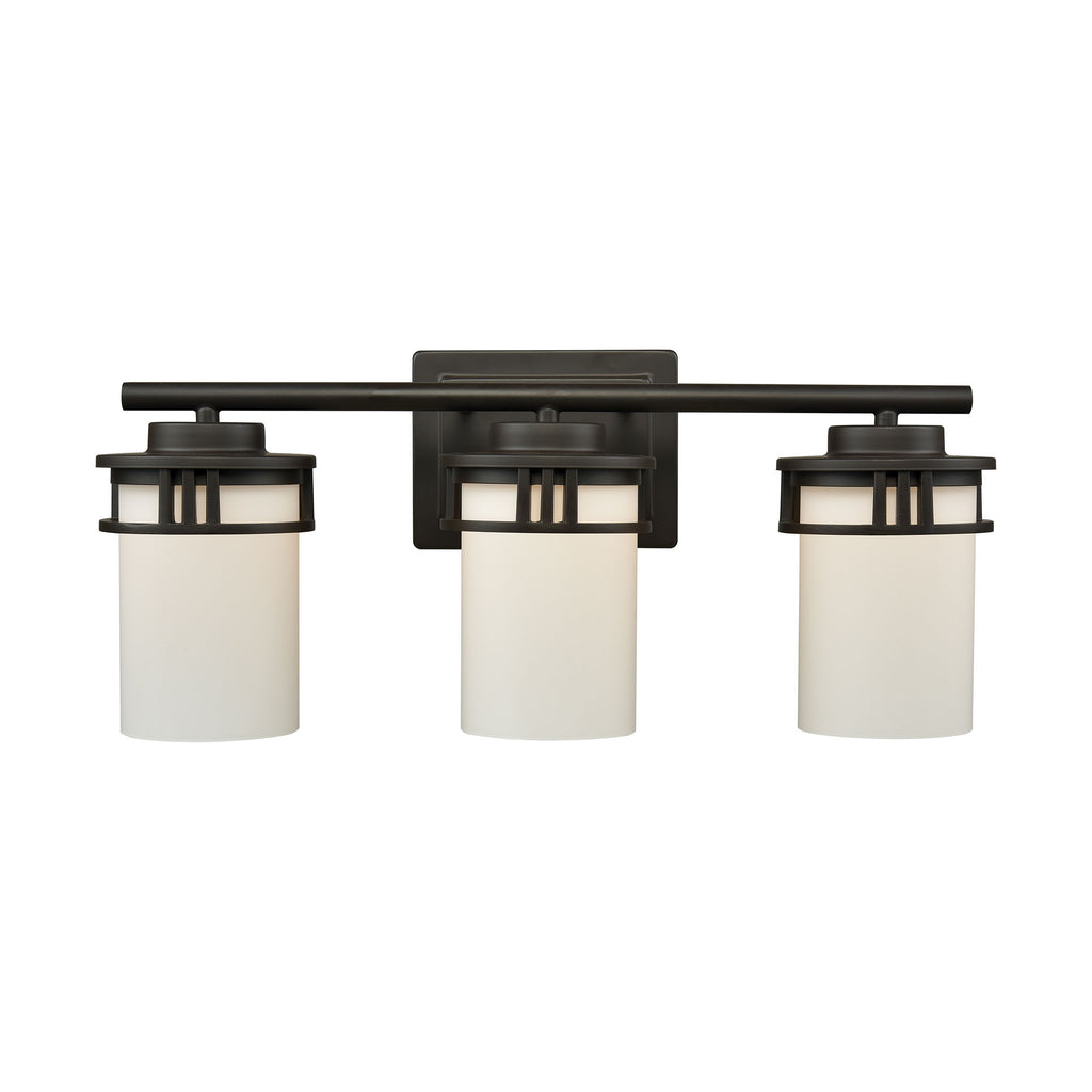 Ravendale 3 Light Bath In Oil Rubbed Bronze With Opal White Glass