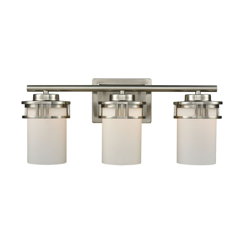 Ravendale 3 Light Bath In Brushed Nickel With Opal White Glass