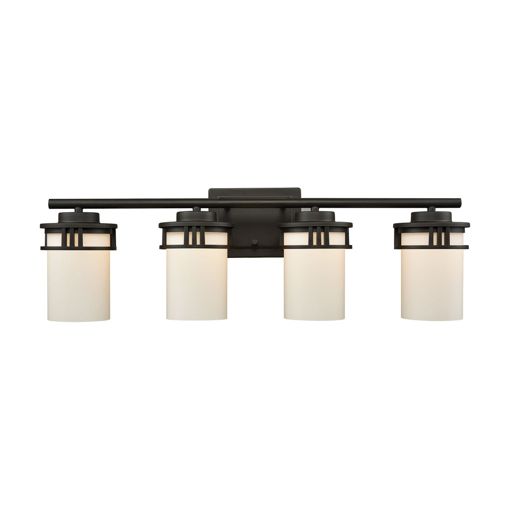 Ravendale 4 Light Bath In Oil Rubbed Bronze With Opal White Glass