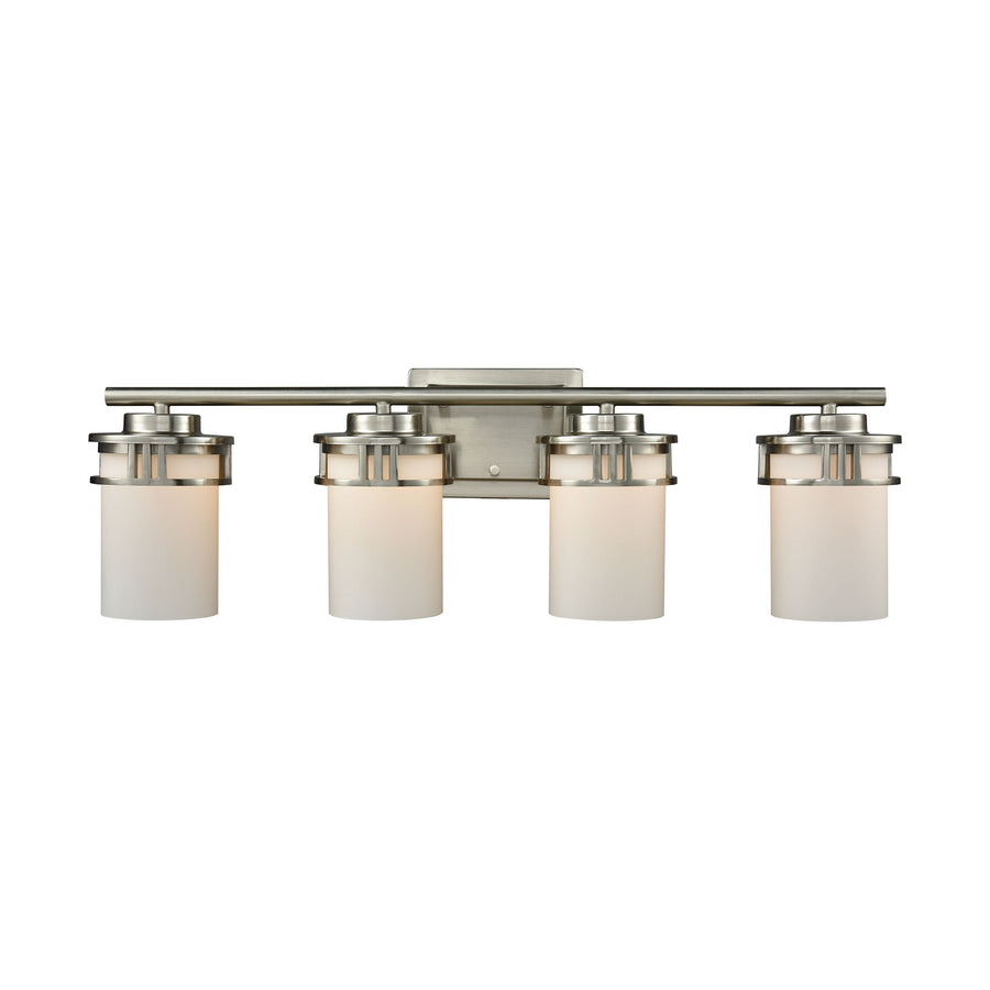 Ravendale 4 Light Bath In Brushed Nickel With Opal White Glass