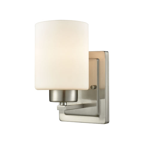 Summit Place 1 Light Bath In Brushed Nickel With Opal White Glass