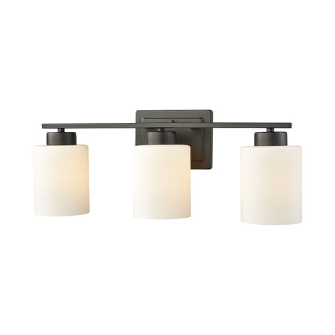 Summit Place 3 Light Bath In Oil Rubbed Bronze With Opal White Glass