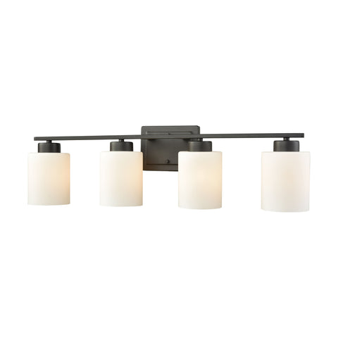 Summit Place 4 Light Bath In Oil Rubbed Bronze With Opal White Glass