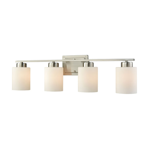 Summit Place 4 Light Bath In Brushed Nickel With Opal White Glass