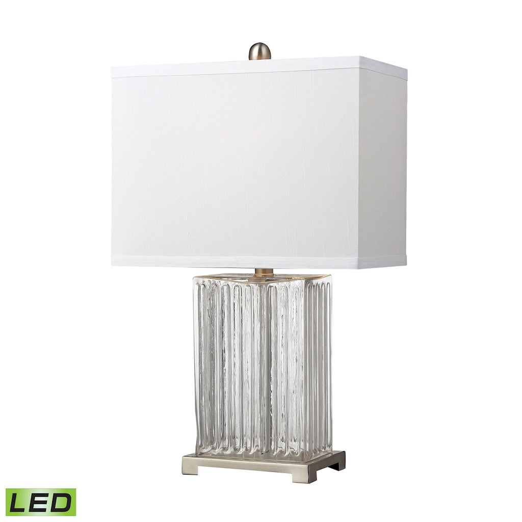 24-inch Ribbed Clear Glass LED Table Lamp in Brushed Steel