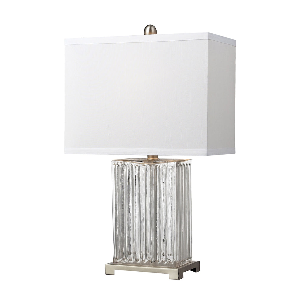 Ribbed Clear Glass Table Lamp in Brushed Steel