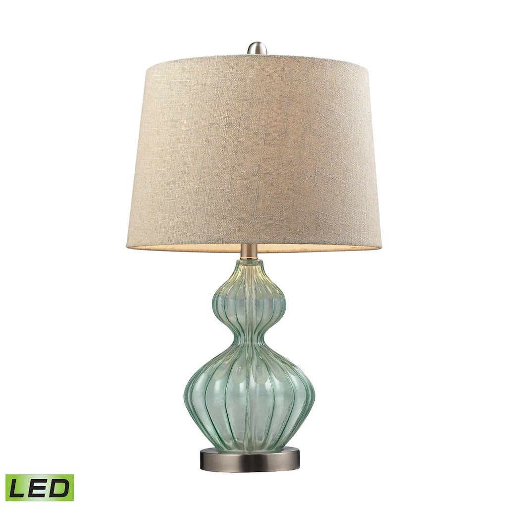 Smoked Glass LED Table Lamp In Pale Green With Metallic Linen Shade