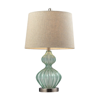 Smoked Glass Table Lamp In Pale Green With Metallic Linen Shade