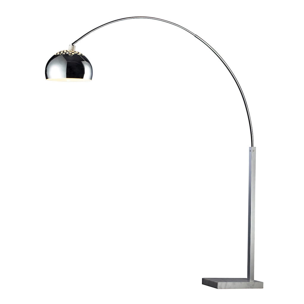 Penbrook Floor Lamp in Silver Plate with White Marble Base