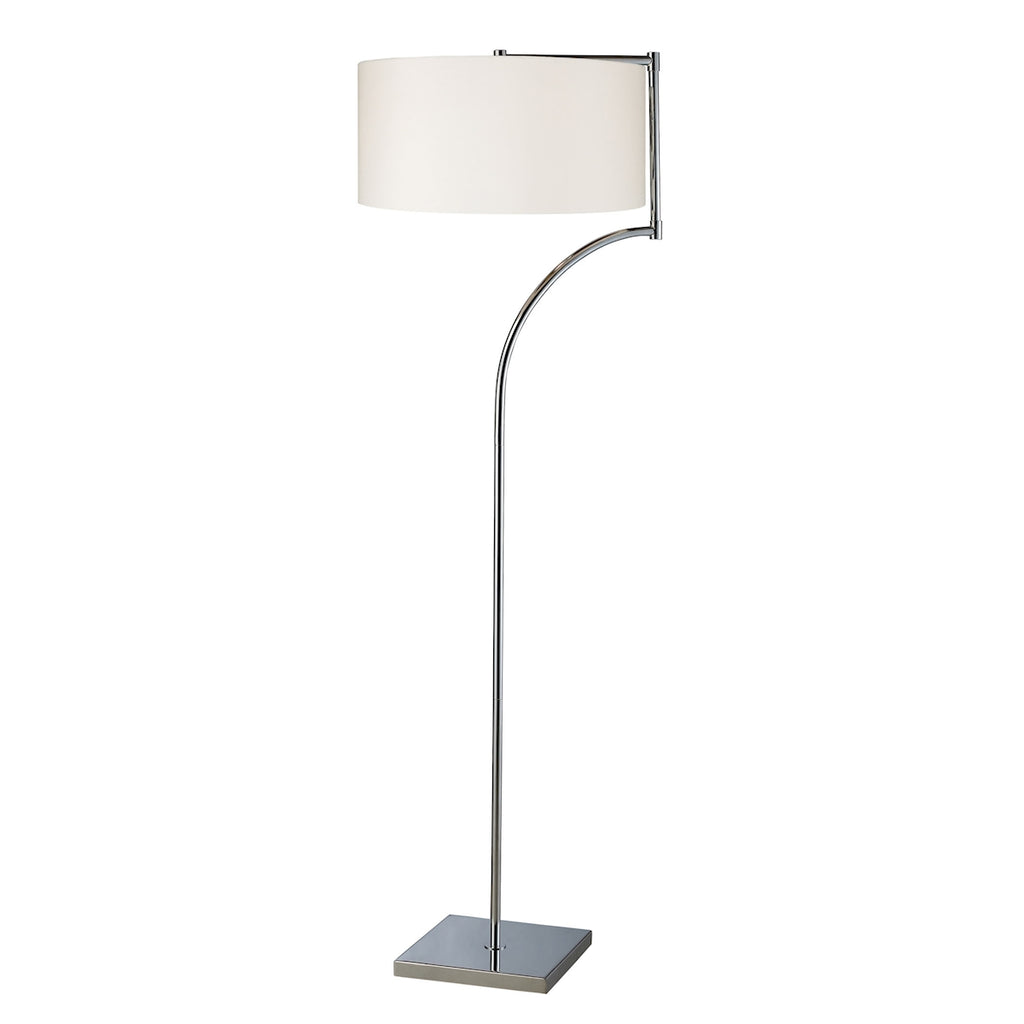 LANCASTER CHROME FLOOR LAMP WITH WHITE FABRIC SHADE