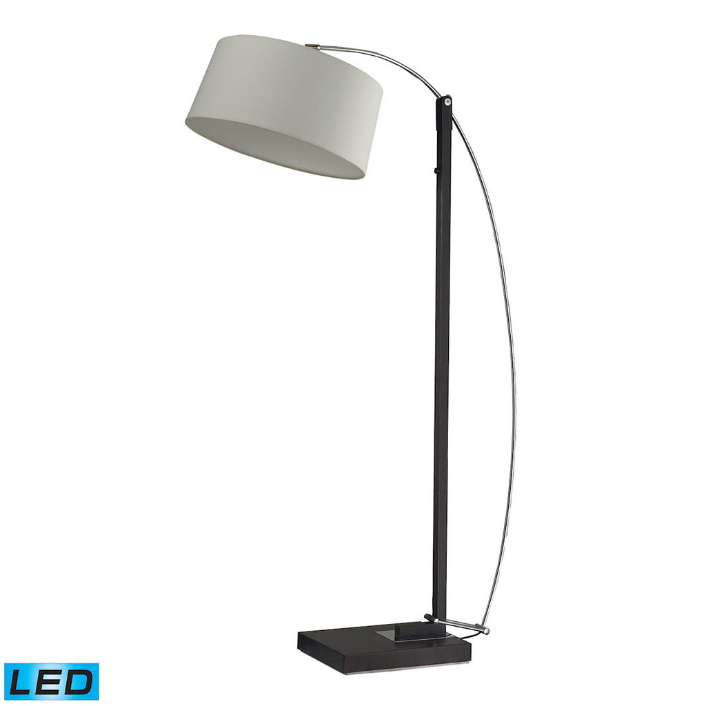 Logan Square LED Floor Lamp In Dark Brown With Off-White Linen Shade