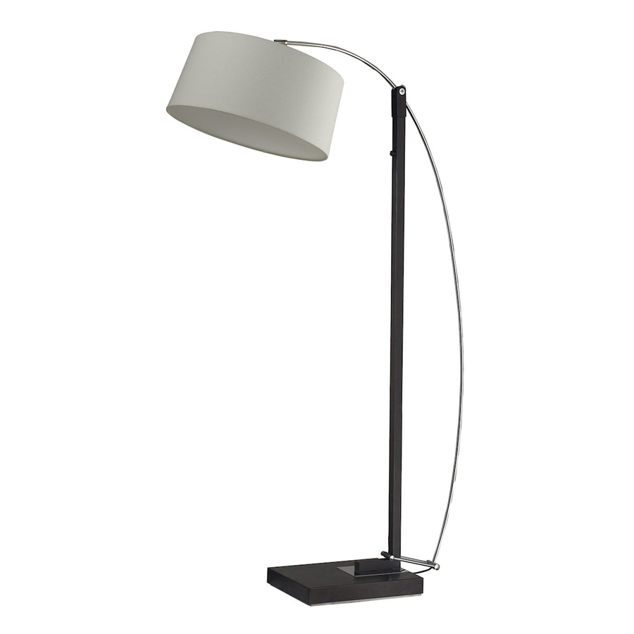 Arc Floor Lamp in Black Marble with Off-white Shades