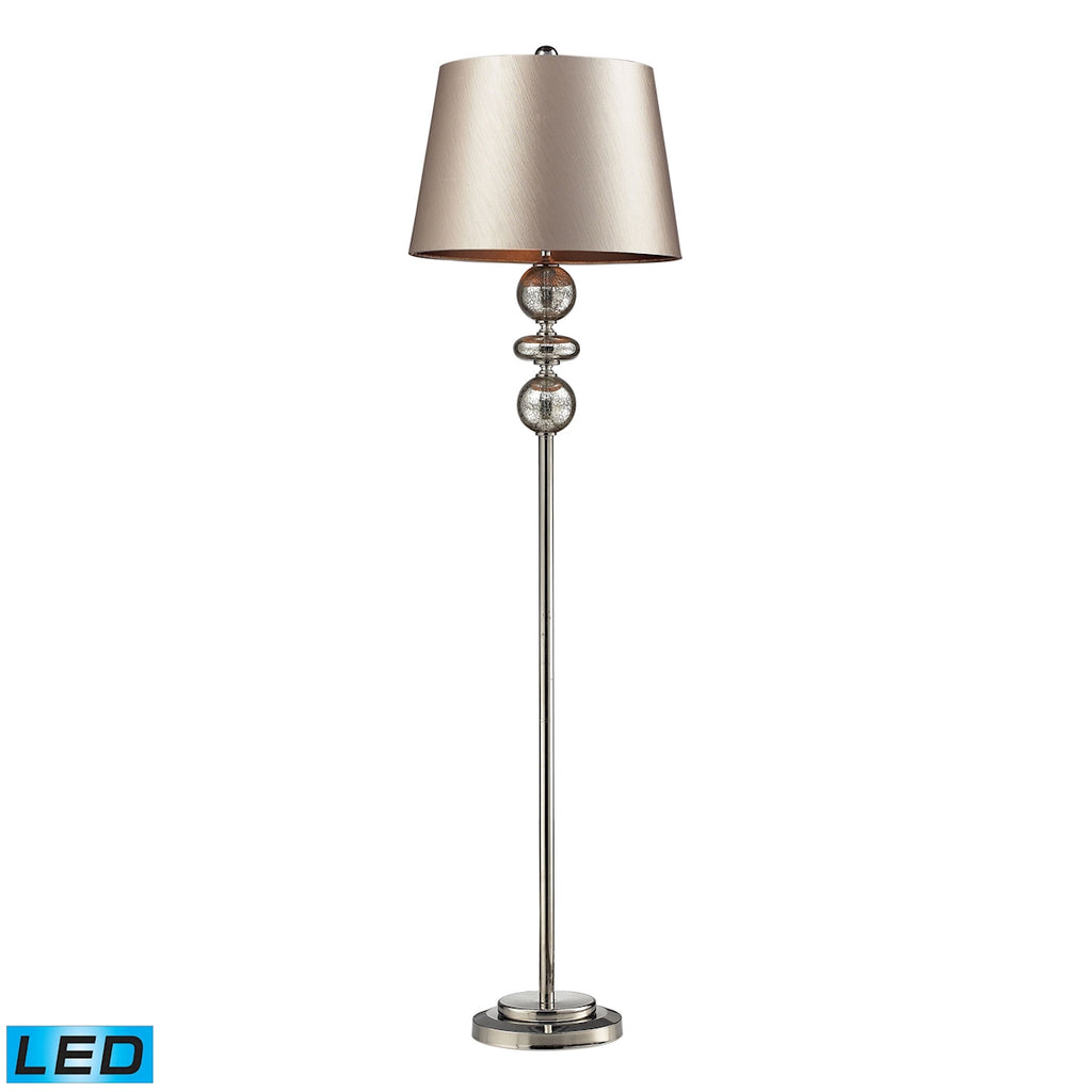 Hollis LED Floor Lamp In Antique Mercury Glass And Polished Nickel