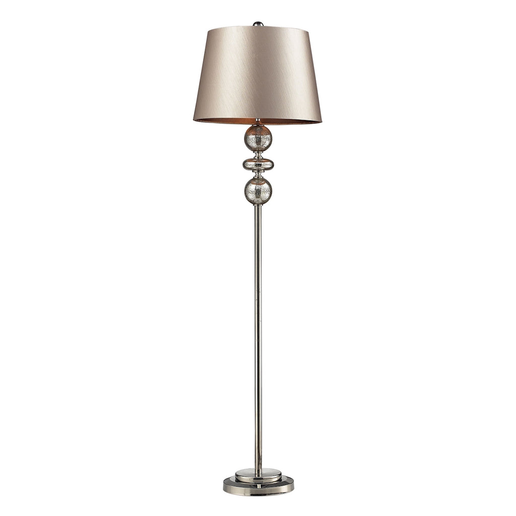 Hollis Floor Lamp in Mercury Glass/Polished Nickel with Champagne Faux Silk Shade/Chocolate Liner