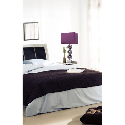 Alva Table Lamp in Purple and Black Nickel with Purple Faux Silk Shade and Purple Liner