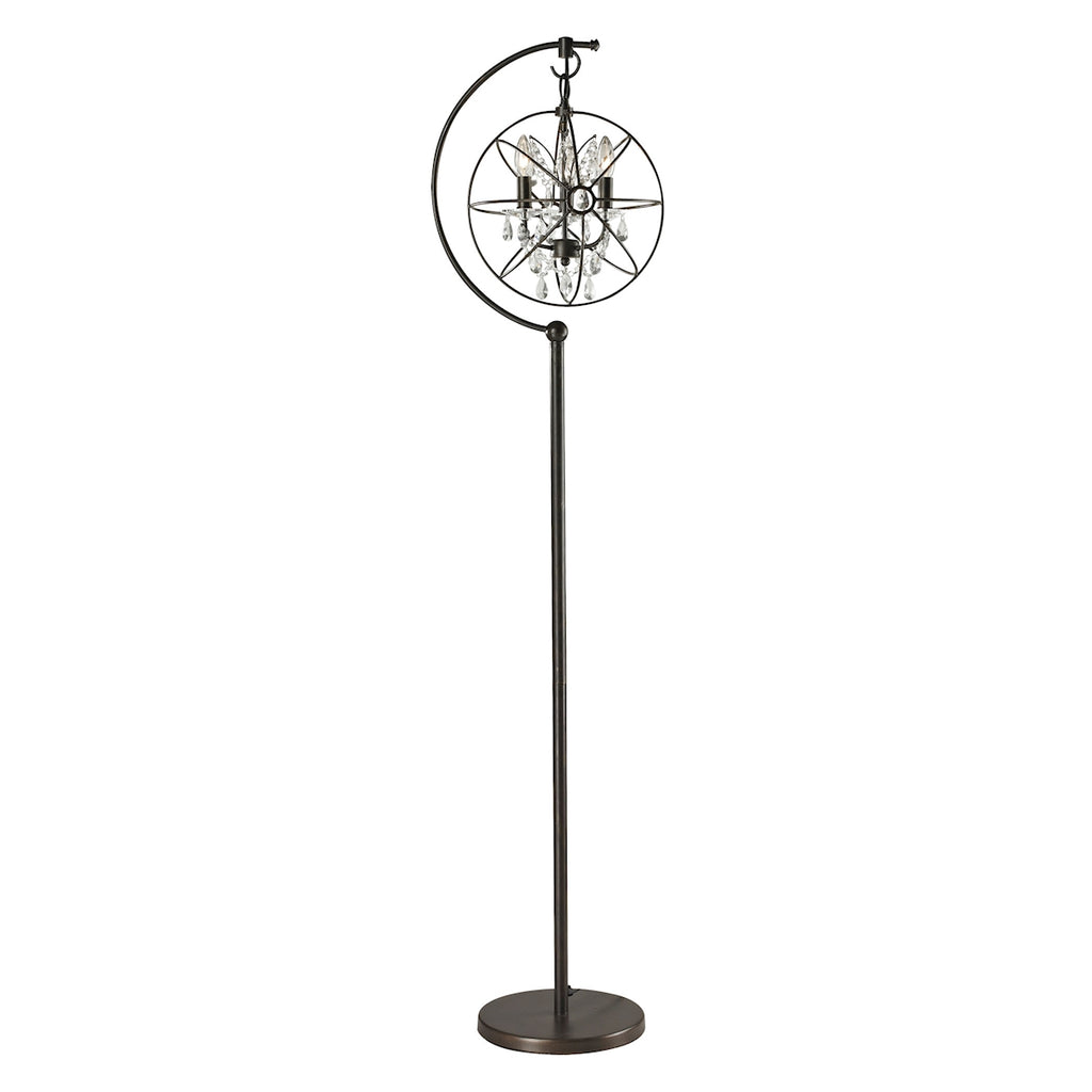 Restoration Globe 3-Light Floor Lamp with Crystal
