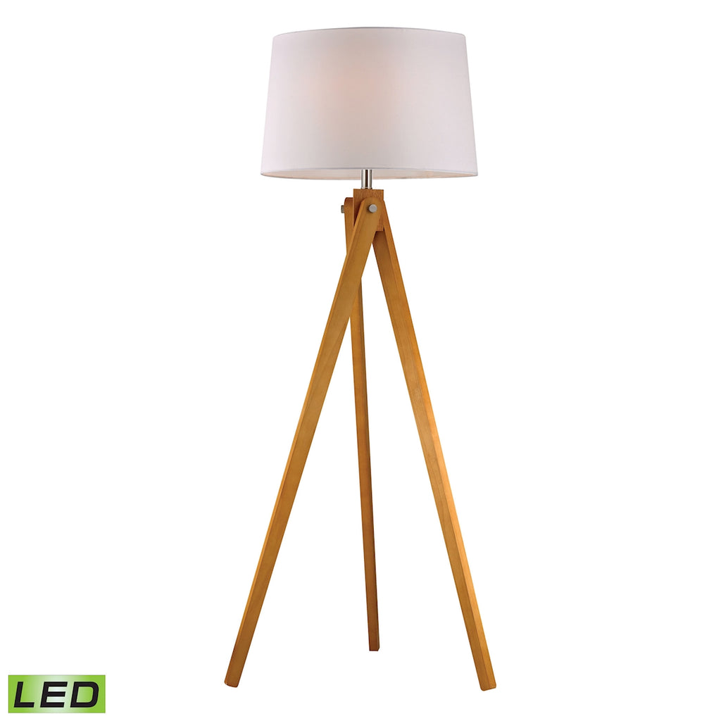 Wooden Tripod LED Floor Lamp in Natural Wood Tone