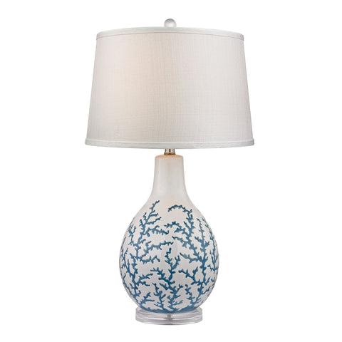 Sixpenny Table Lamp in Blue Coral Ceramic with Acrylic Base