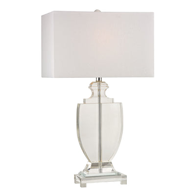 Avonmead Table Lamp in Clear Crystal with Pure White Faux Silk Shade