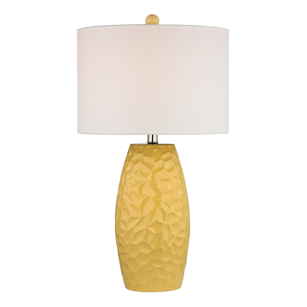 Sunshine Yellow Ceramic Table Lamp with White Linen Shade