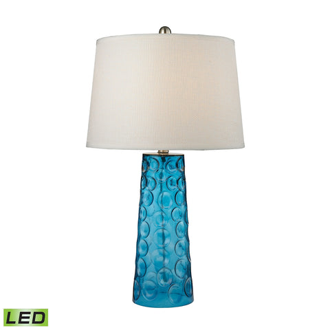 Hammered Glass LED Table Lamp in Blue With Pure White Linen Shade